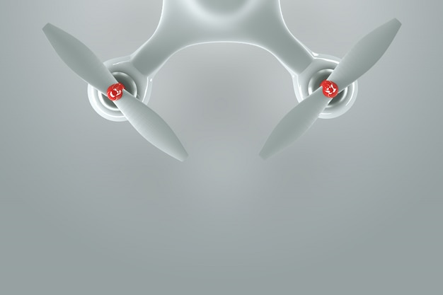 Drone, white quadrocopter on a white background with copy space