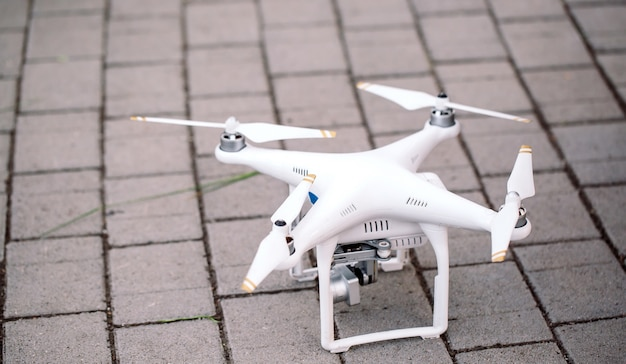Drone with camera  preparing to fly