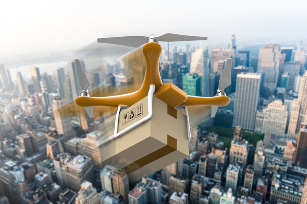 Drone with a delivery box package over a city