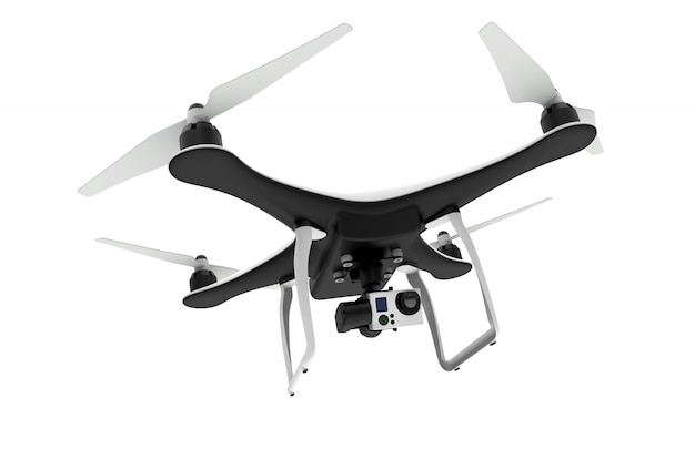 Drone with digital camera flying on white
