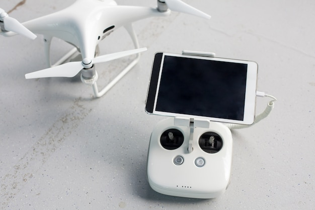 Drone with a remote control.