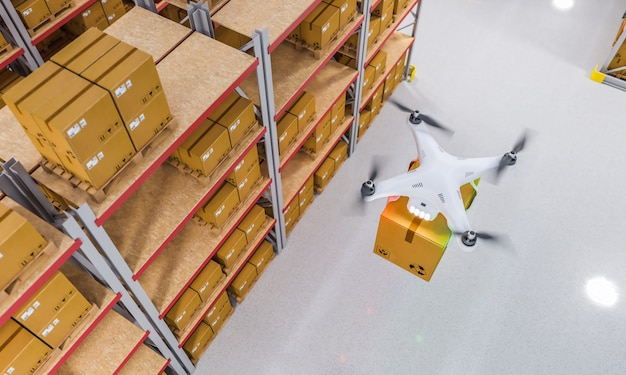 Drone at work in warehouse