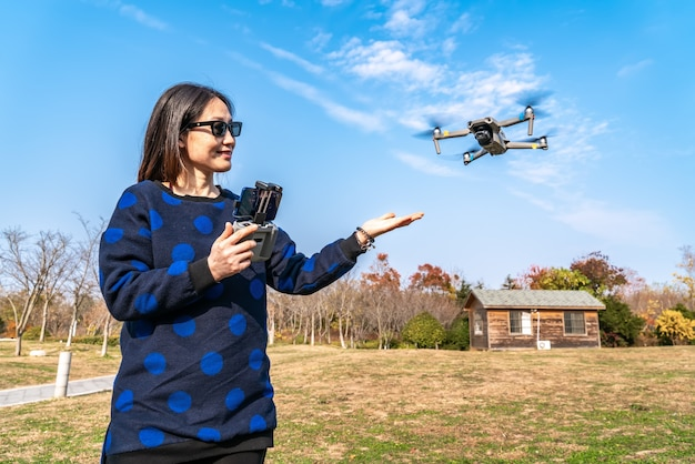 Drones and camera women in the park