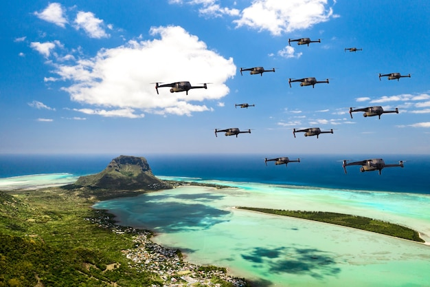 Drones fly over the island of mauritius in the indian ocean. a natural landscape with drones flying over it. quadrocopter