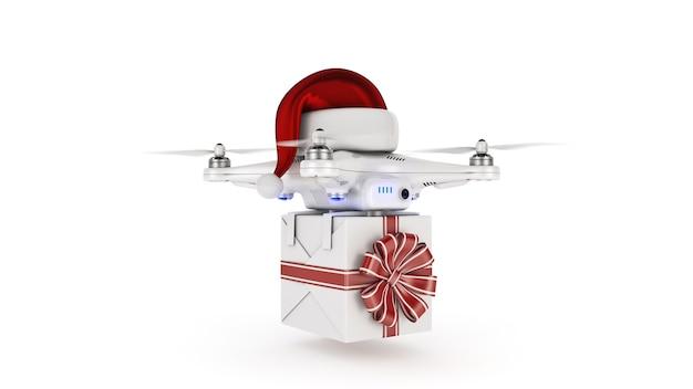 크리스마스 선물 3d 렌더링을 제공하는 santas 모자를 쓴 드론