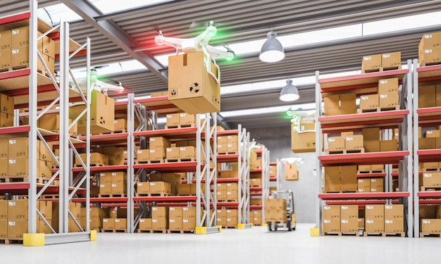 Drones work in warehouse