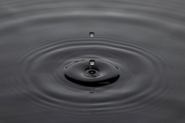 Капля падает в воду, образуя рябь на поверхности