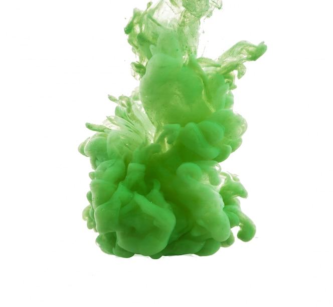 Drop of green paint falling in water