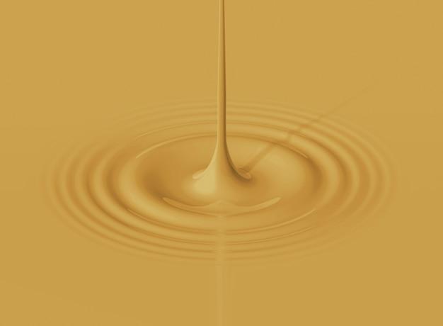 Drop of latte coffe splashing and making ripple. 3d rendering