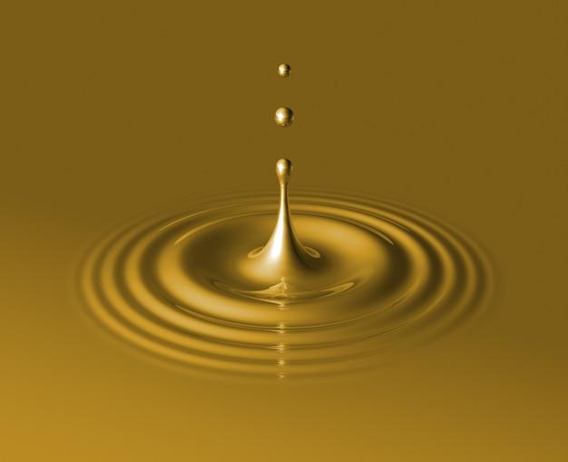 Drop of liquid gold splashing and making ripple.