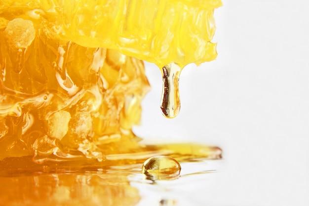 벌집 근접 촬영에서 떨어지는 꿀 방울