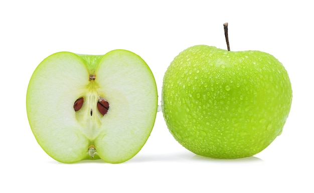 화이트에 물 녹색 사과 한 방울