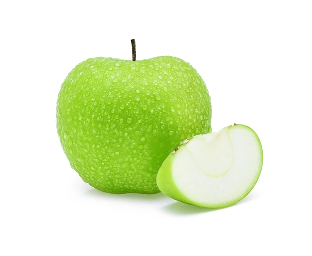 Drop of water green apple on white