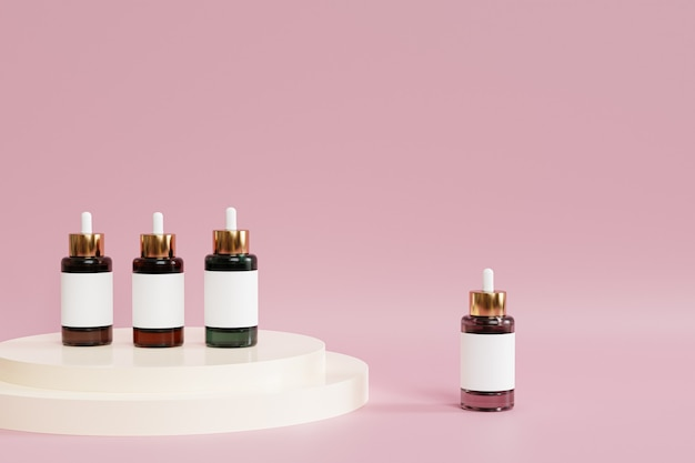 Dropper bottles with label and white podium on pink surface