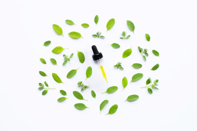 Dropper of essential oil with marjoram on white background