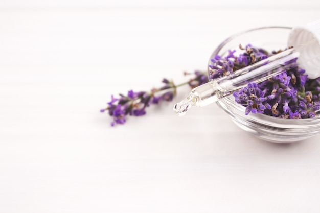 Dropper with lavender essential oil