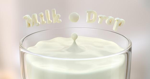 Bokeh 장면에 유리에 우유 방울 3d 렌더링입니다.
