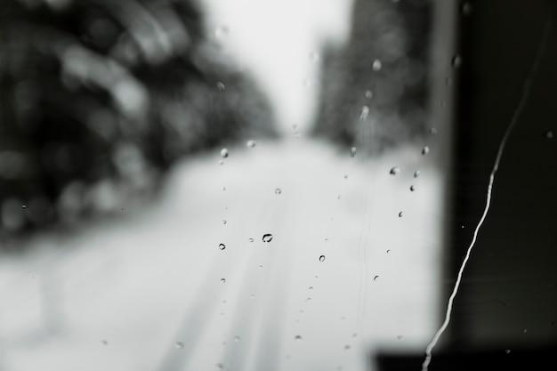 Drops on train window