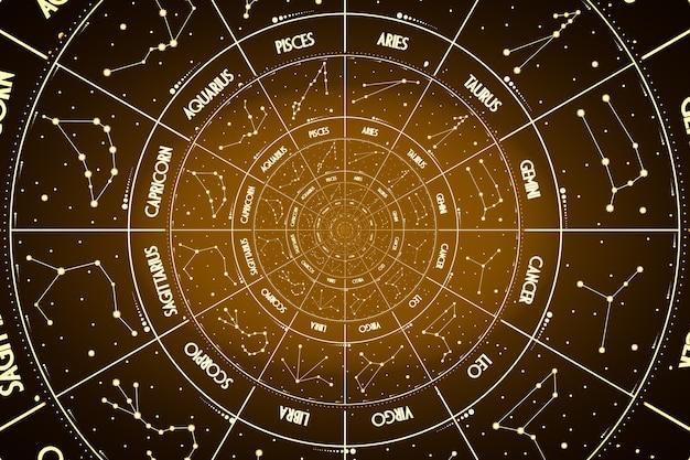 ドロステ効果の背景。占星術、ファンタジー、時間と魔法に関連する概念の抽象的なデザイン。