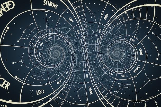 Фон эффекта дросте. абстрактный дизайн для понятий, связанных с астрологией, фэнтези, временем и магией.