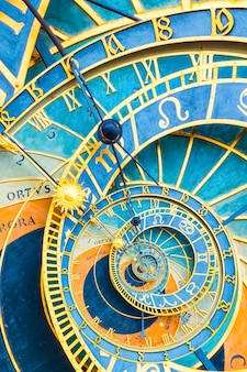 プラハの天文時計に基づくドロステ効果の背景。占星術、ファンタジー、時間と魔法に関連する概念の抽象的なデザイン。