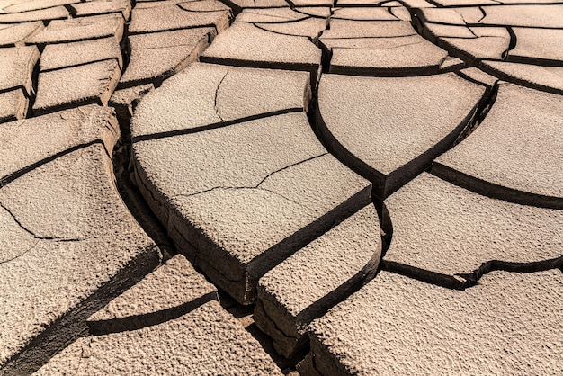 Drought climate, cracked earth background
