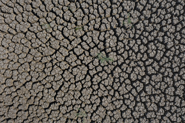 Drought deep cracked earth surface lit by the sun