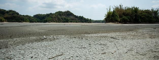 Drought lake and land in guantian, tainan, taiwan