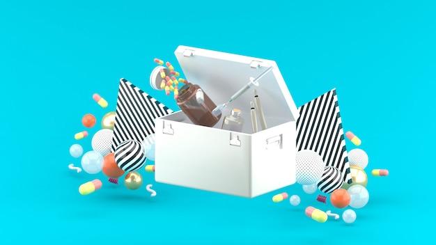 Наркотики и шприцы плавают из кармана наркотиков среди разноцветных шариков на синем. 3d-рендеринг.