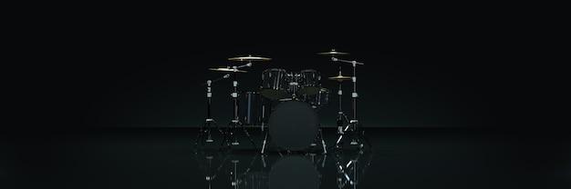 어두운 배경 3d 렌더링의 드럼 키트