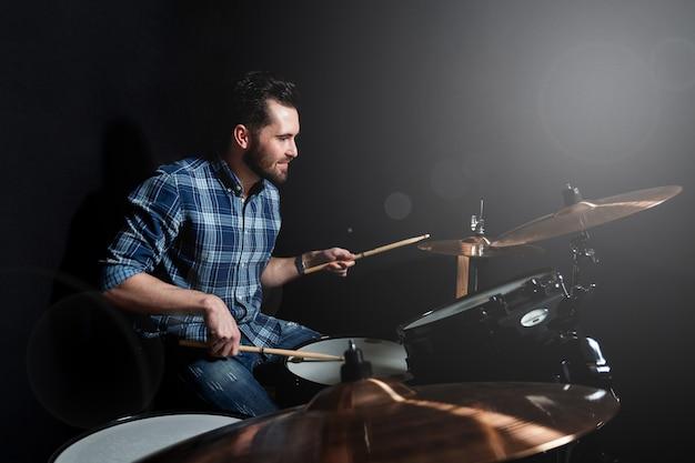 Drummer performing