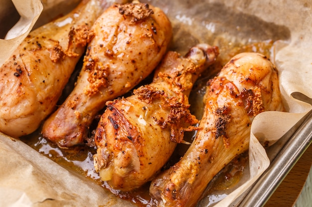 Drumstick poultry baked in oven