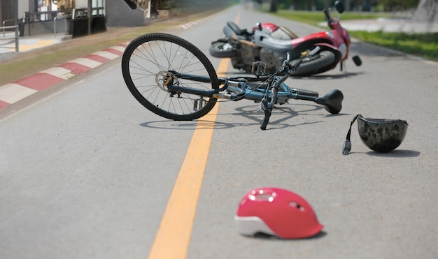 Drunk driving crashes , accident car crash with bicycle on road.