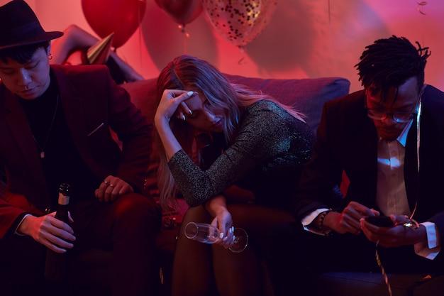 Drunk woman in nightclub