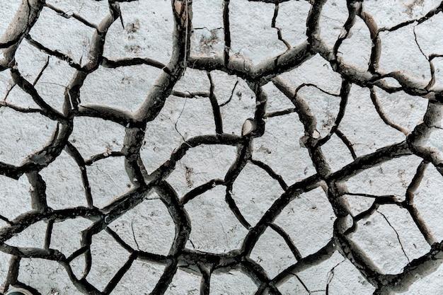 건조하고 갈라진 땅, 지구 온난화 개념.