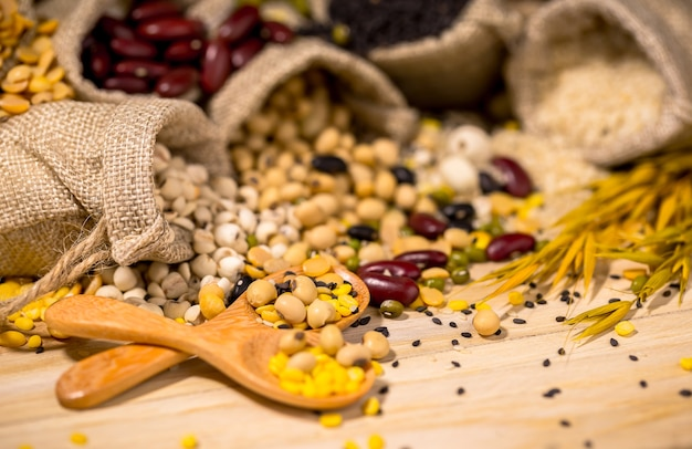 Dry beans for good health,copy space.