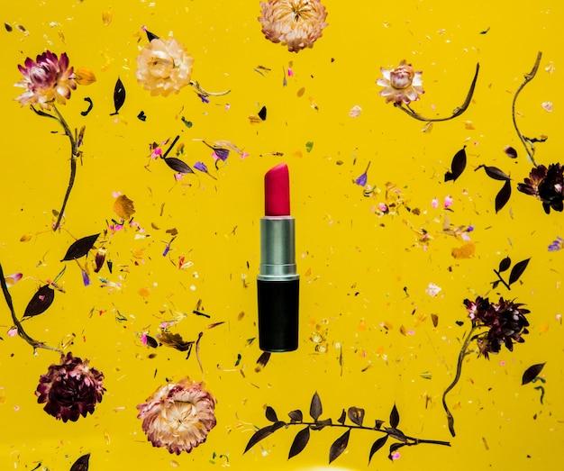 꽃과 절연 노란색 배경에 빨간 립스틱으로 bellis 허브를 건조. 그림자없이