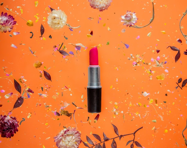 꽃과 절연 오렌지 배경에 빨간 립스틱으로 bellis 허브를 건조. 그림자없이