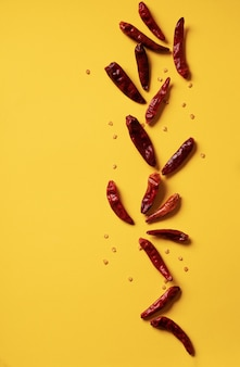 Dry chili pepper. food pattern concept. minimalistic. top view. flat lay