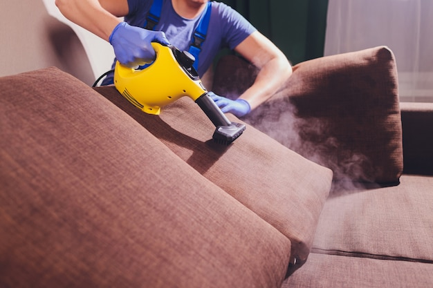 Dry cleaner's employee removing dirt from furniture in flat, closeup.