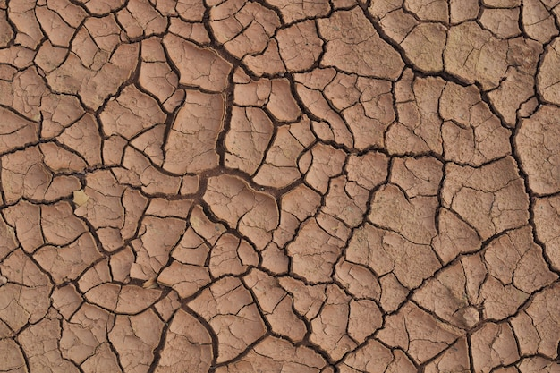 Dry cracked earth during in a rainy season because lack of rain shortage of water cracked soil texture