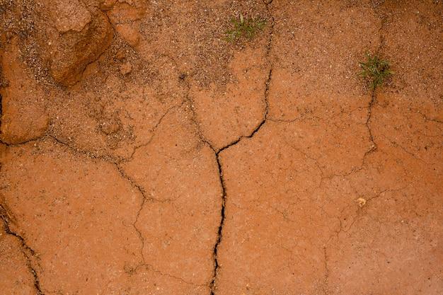 乾燥したひびの入った赤い粘土の土、ひびの入った赤い粘土