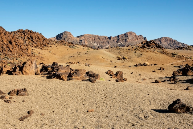 Dry desert relief with clear sky