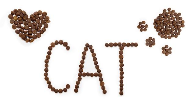 ハートの形をしたドライドッグフード、猫の足と文字cat、白い背景で隔離。ハート型のペットフード。猫と犬のための食べ物。ペットのための健康食品のコンセプト。