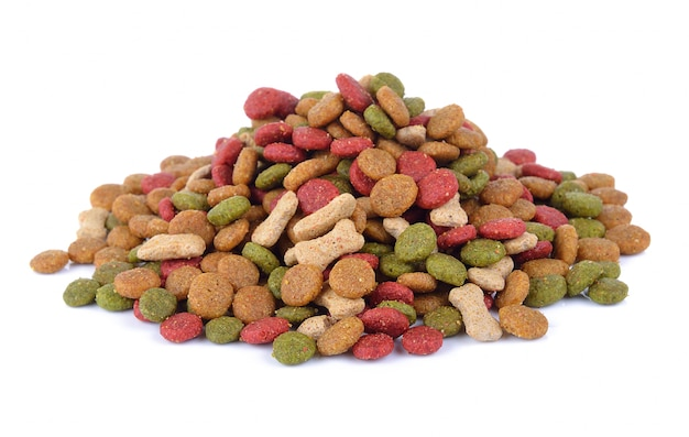 Dry dog food on white wall