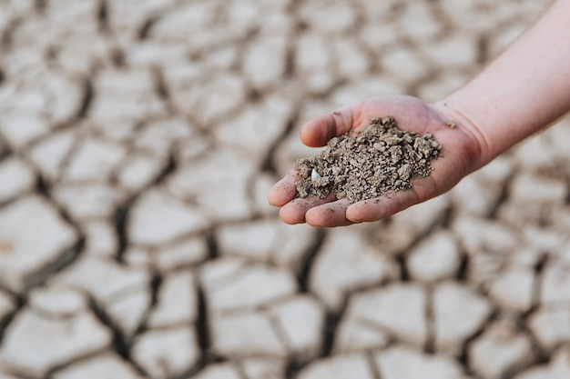 Dry earth in the hand of a man against the background of a dried up soil.