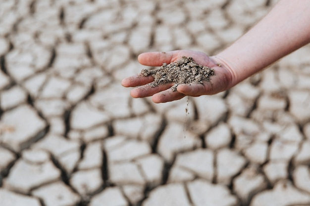 Dry earth lies in the palm of a mans hand warming on the plate world environmental problem