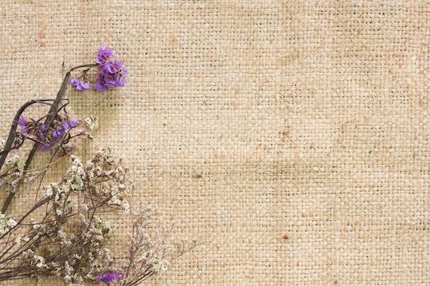 Dry flower on jute.