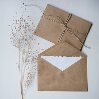 Dry flower and kraft envelopes on a white background.