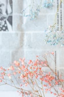 Fiori secchi sulla superficie del giornale, messa a fuoco selettiva, atmosfera primaverile